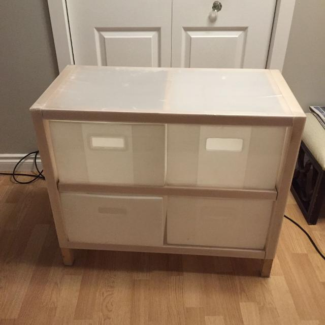 ikea plastic drawer with wood frame