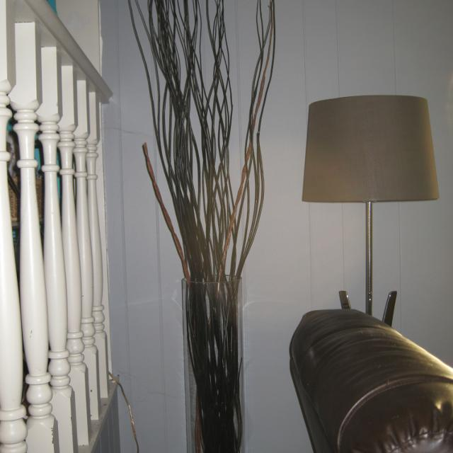 Find More Modern Tall Clear Glass Vase W Tall Black Twigs For Sale