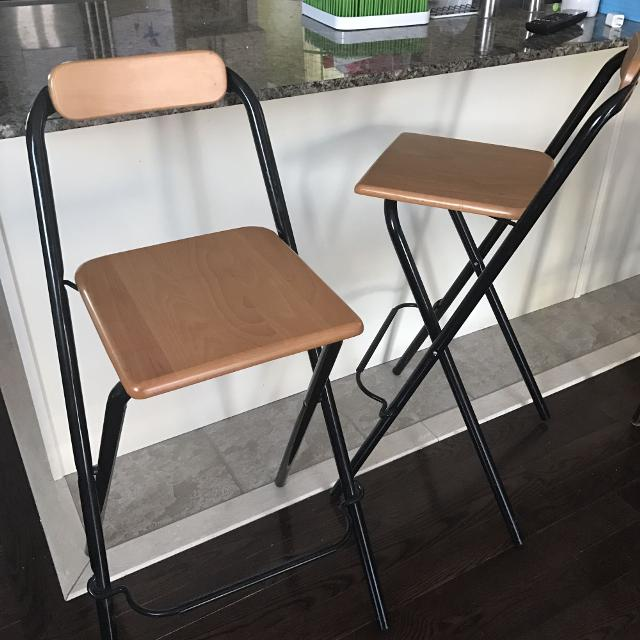 Find more ikea dennis folding bar stools euc for sale at for Folding bar stools ikea