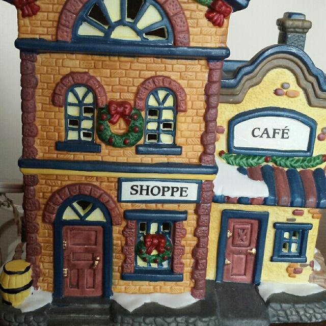 lighted avon christmas village collection shoppe cafe