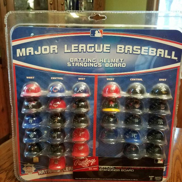 Major League Baseball Batting Helmet Standings Board
