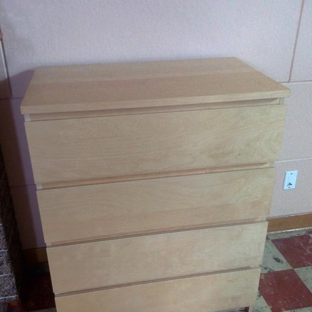 Ikea Malm Chest Of 4 Drawers White Stained Oak Veneer