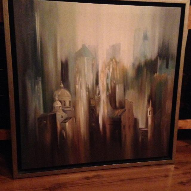 Stunning Wall Art 26x26 Canvas Framed Muted Earth Tone