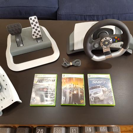 Xbox 360 Driving Wheel and games, used for sale  Canada