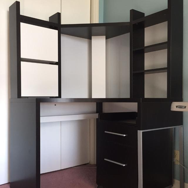 best cheap 941ce 19e90 IKEA Micke Corner Workstation + Staples 2 Drawer Filing Cabinet (Excellent  Condition)