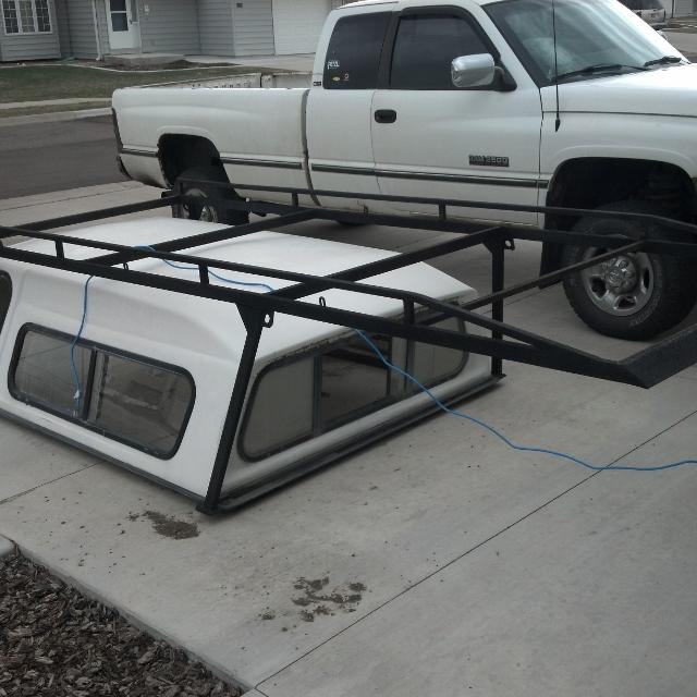 Truck Pipe Rack >> Best Camper Shell And Pipe Rack Can Be Put On Truck Together Or