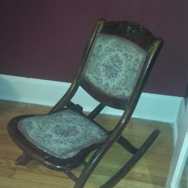 Antique folding rocking chair bought at one of the areas antiques store - Best Antique Folding Rocking Chair Bought At One Of The Areas