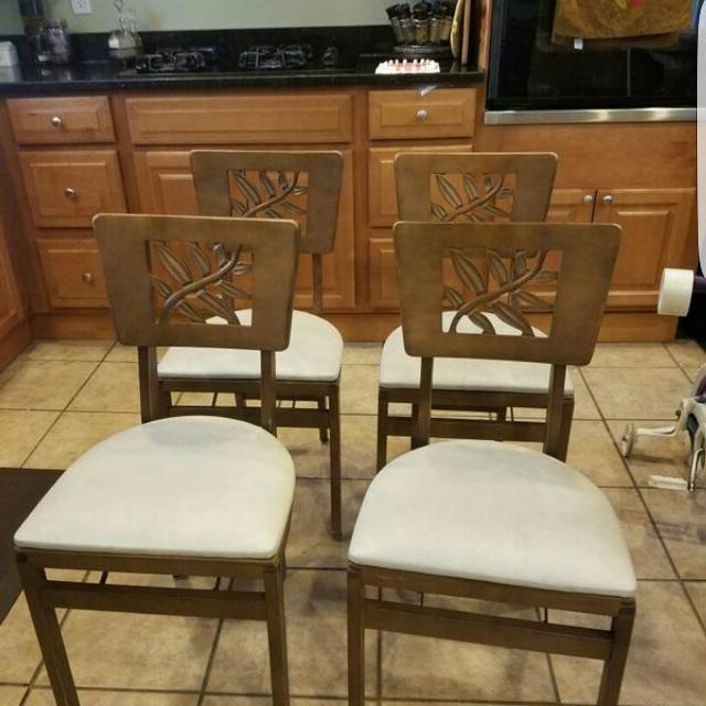 Rare Vintage 1940 S Set Of 4 Stakmore Folding Chairs Carved Leaf