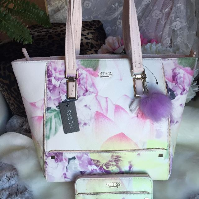 Find more New Guess Floral Tote With Matching Zippered Wallet for ... 35069afd83c27