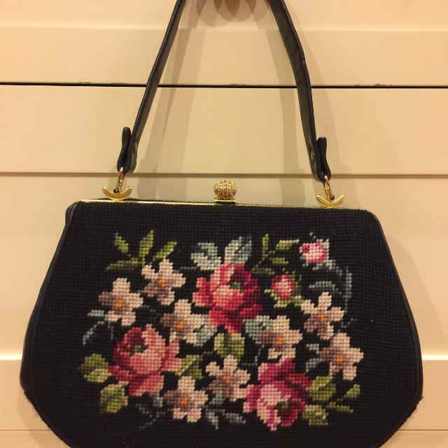 Price Reduced Vintage Needlepoint Purse By Elvette