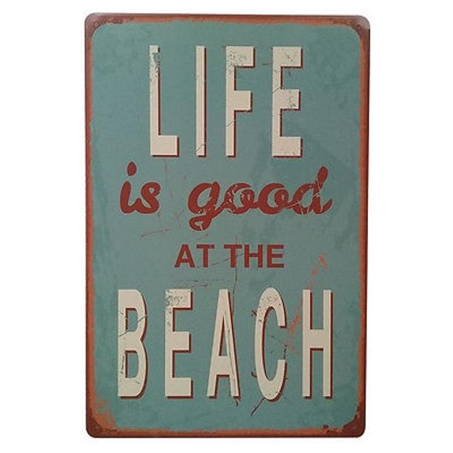 Best Life Is Good At The Beach- Tin Wall Art / Sign for sale