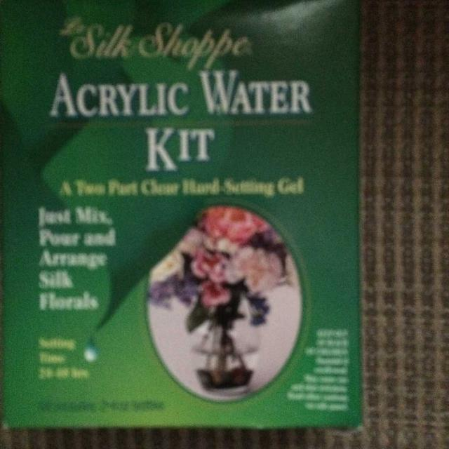 Acrylic Water Kit Silk Shoppe-2 part clear hard setting gel-arrange silk flowers