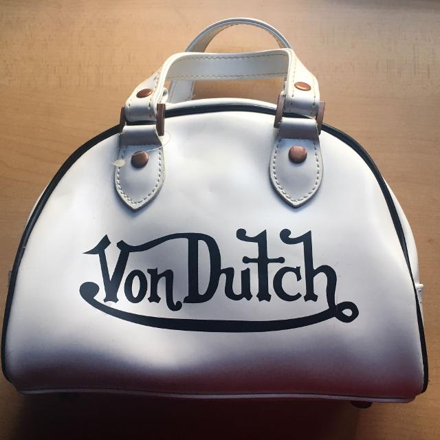 Von Dutch Small Leather Bowling Bag Satchel