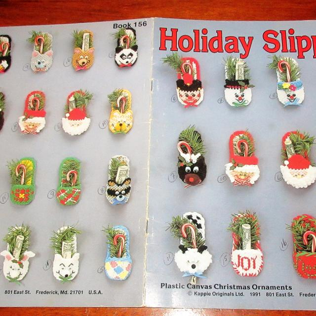 hoilday slippers plastic canvas christmas ornaments booklet 16 pages - Plastic Canvas Christmas Ornaments