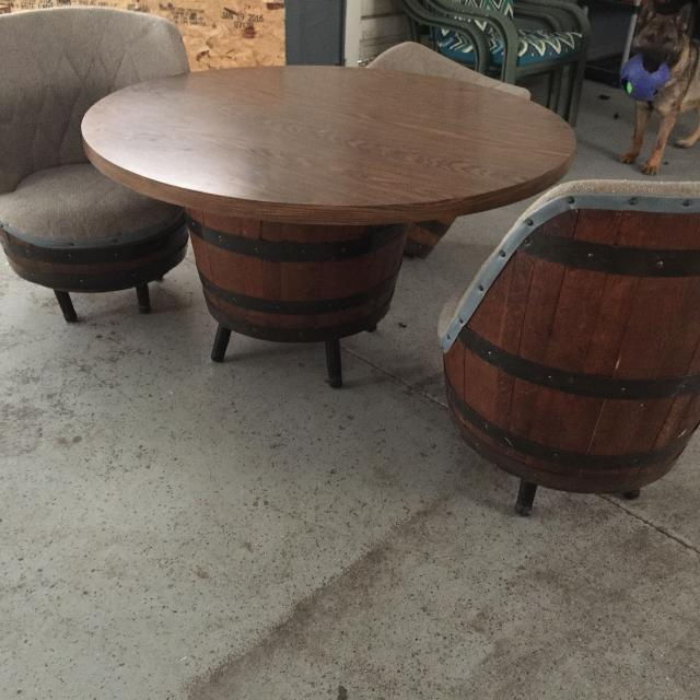 Barrel Table And Chairs For Sale