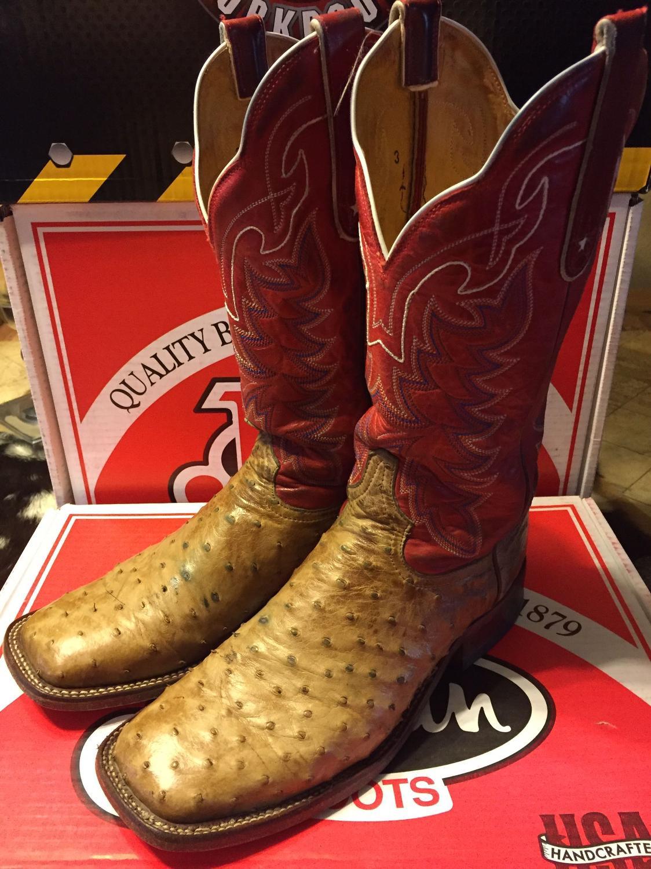 ea4ab1c00c4 Tony Lama Antique Saddle Tan Full Quill Ostrich Boots