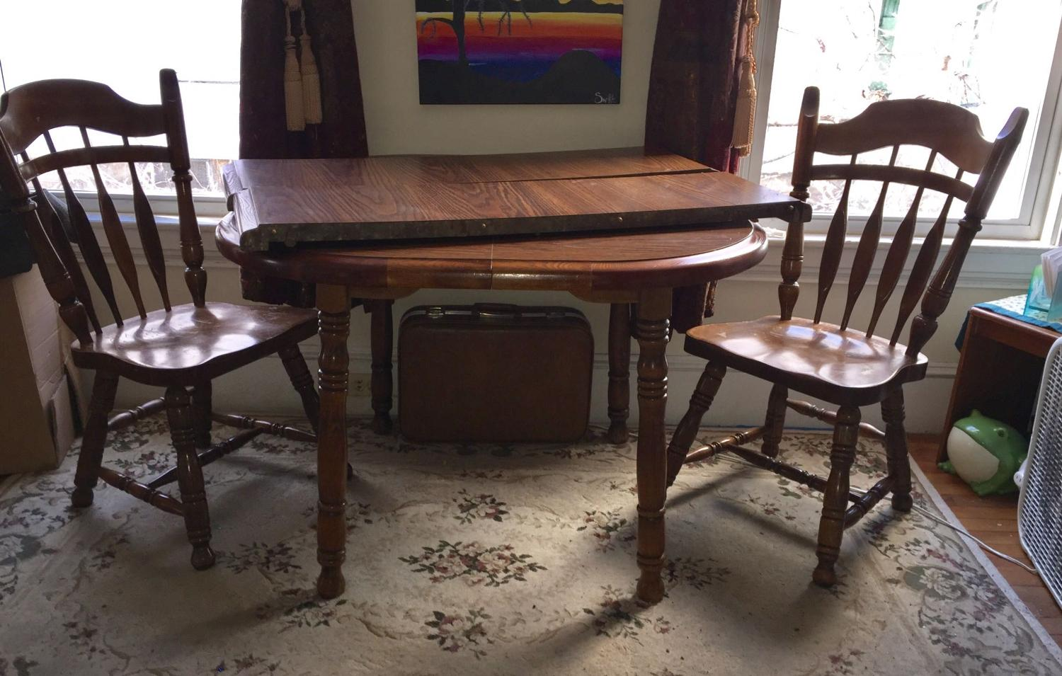 Find More Wooden Dining Room Table With Two Leaves And Three Chairs For Sale At Up To 90 Off