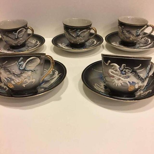 5 DRAGONWARE TEA CUP/SAUCER, Black/Gray Raised Embossed Moriage Dragon