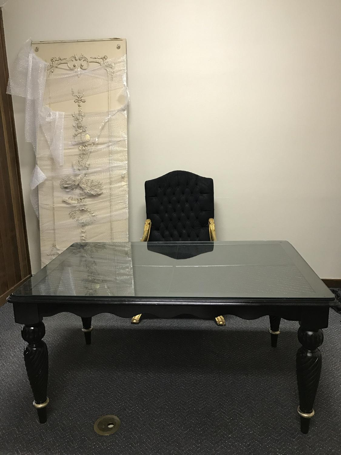 Find More Black Table Desk With Gold Trim For Sale At