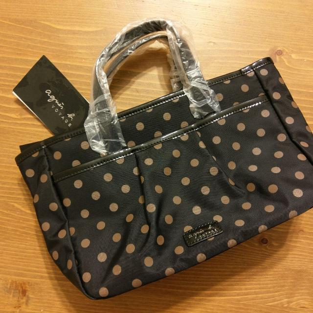 Agnes B Nylon Polka Dot Tote Bag Brand New