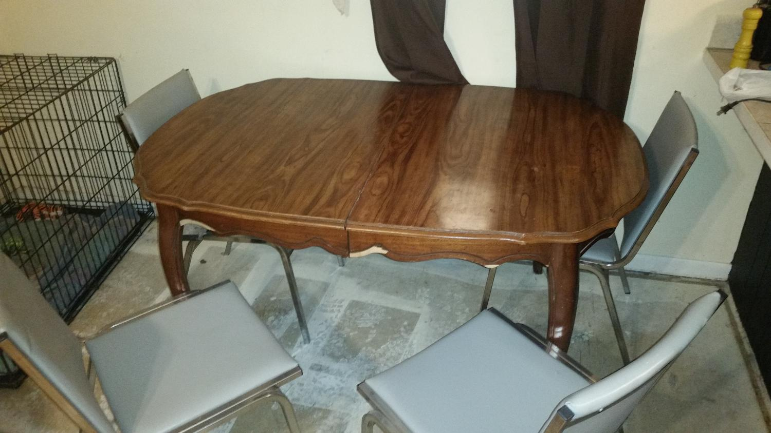Best Good Sturdy Wood Kitchen Table And 4 Metal Chairs For