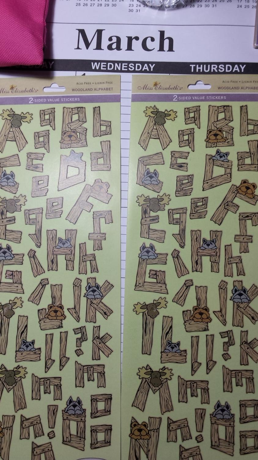 Find more miss elizabeth woodland alphabet stickers for for Craft stores manchester nh