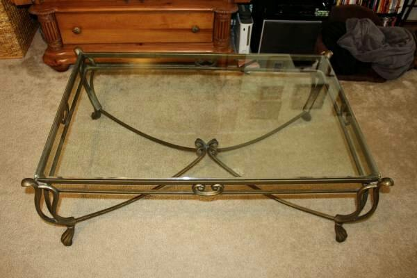 Best 150 obo cast iron glass top coffee table for sale for Cast iron table with glass top