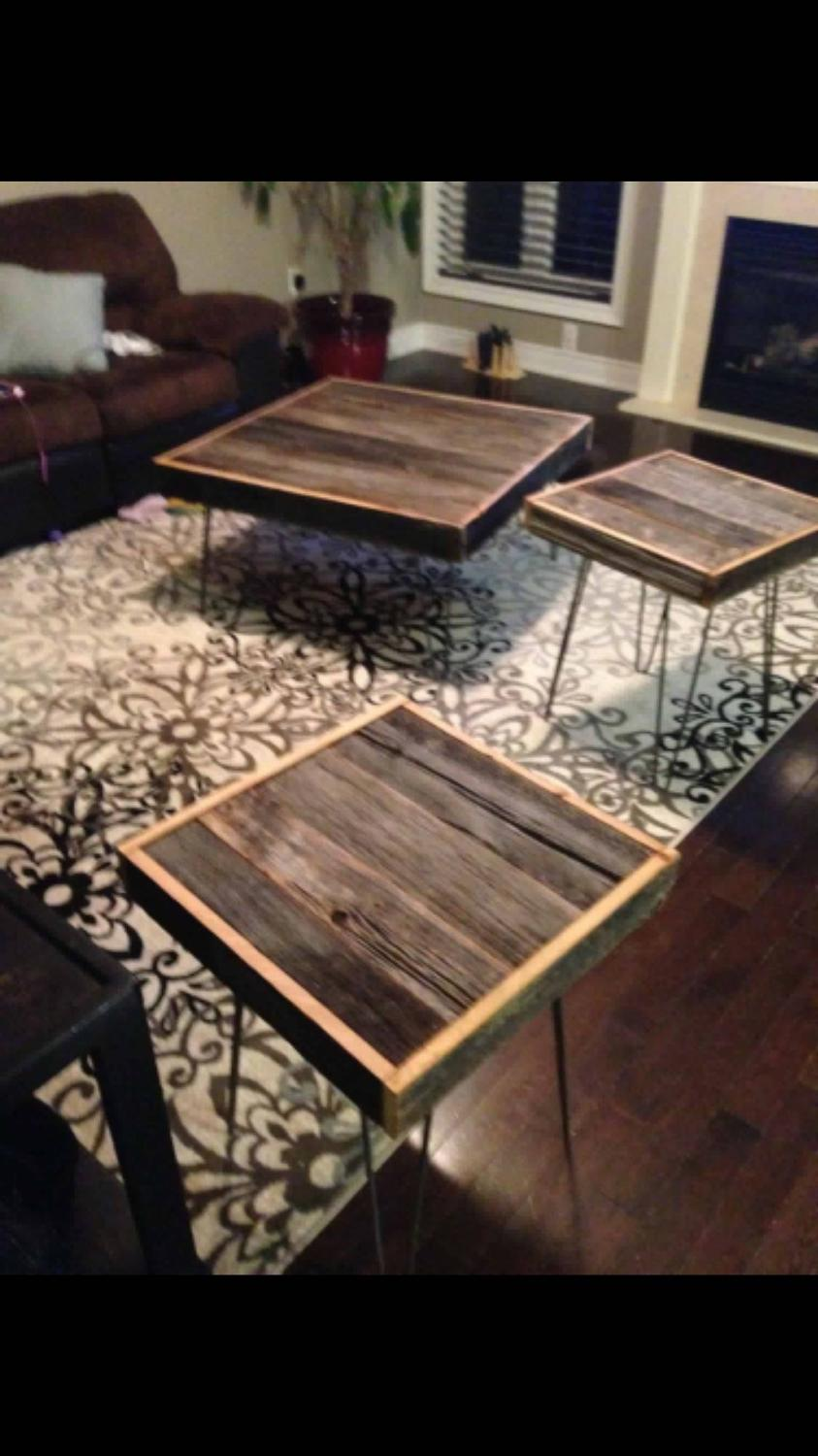 find more authentic rustic barn wood coffee table 2 end tables for sale at up to 90 off. Black Bedroom Furniture Sets. Home Design Ideas