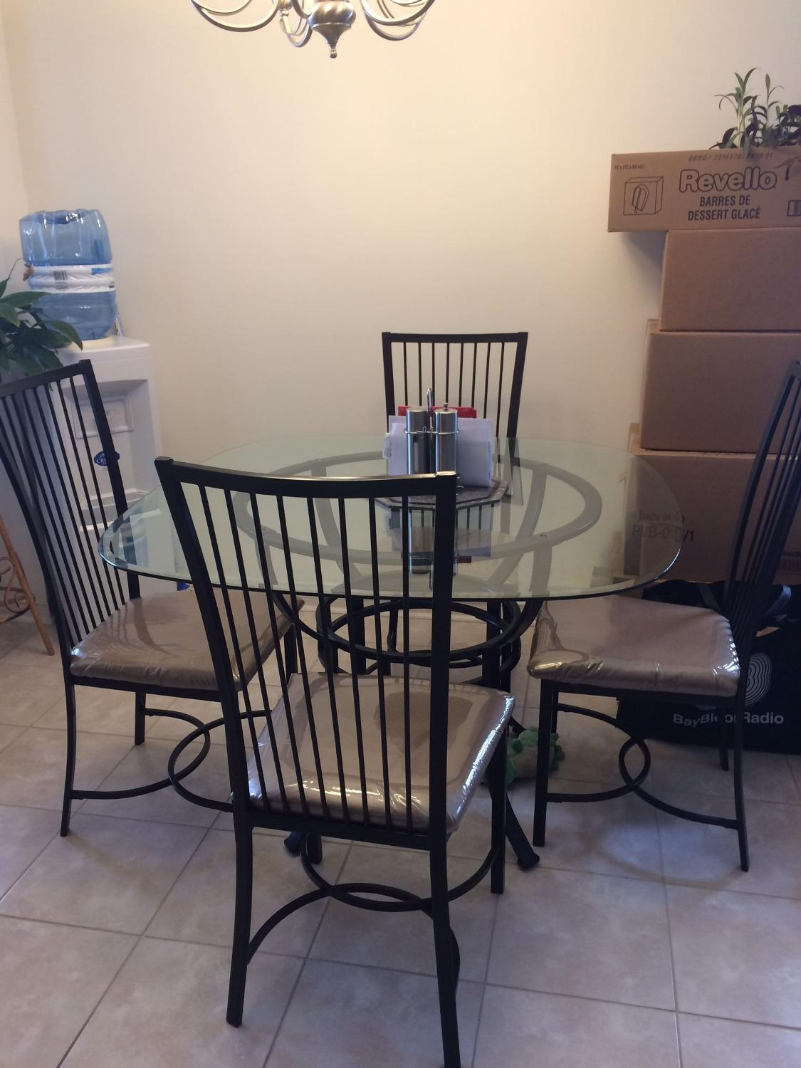 Best Glass Dinner Table For 4 Plastic Cover Still On The Chairs For Sale In Scarborough Ontario