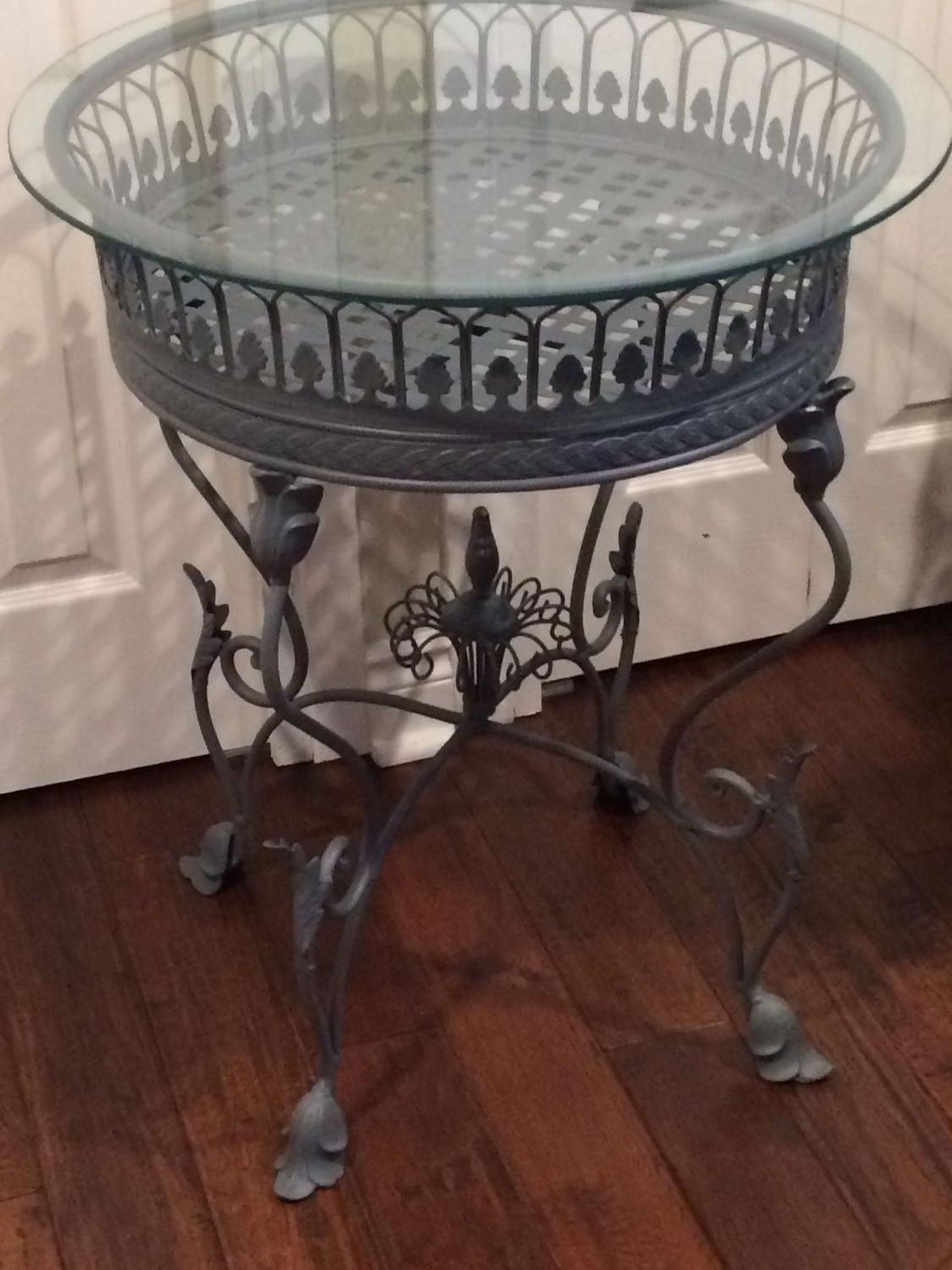 Find more beautiful grey metal glass top table for sale at for Table 09 pointe claire