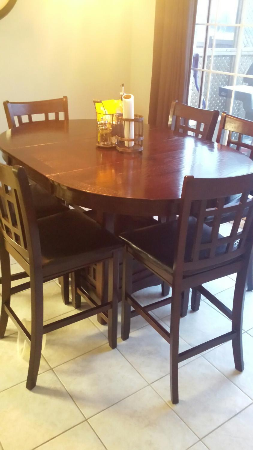 Best pub height kitchen table with removeable leaf and 6 for 6 kitchen chairs for sale
