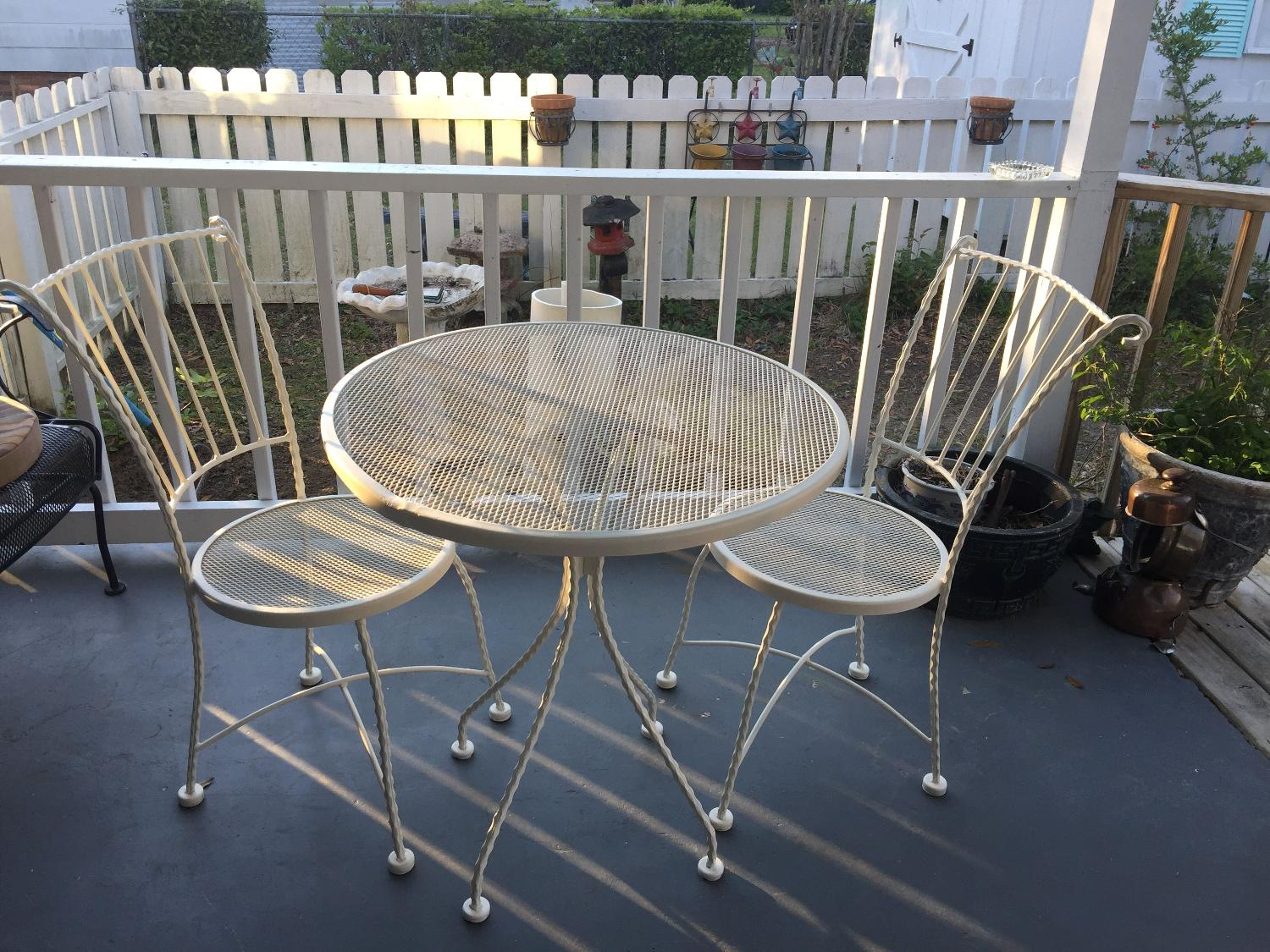 Find More Vintage Wrought Iron Table With Two Chairs 28 Wide 29 Tall Obo For Sale At