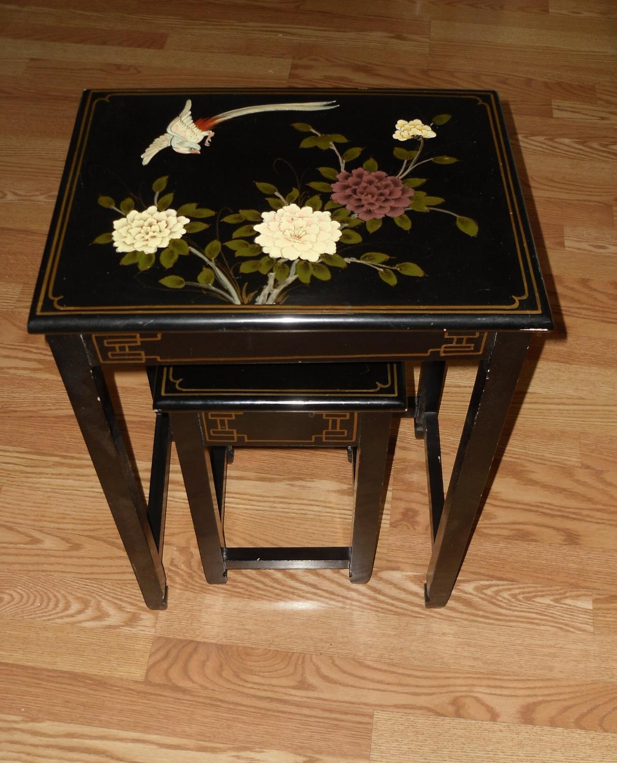 Best Japanese Style Theme Set Of Black Coffee Tables W