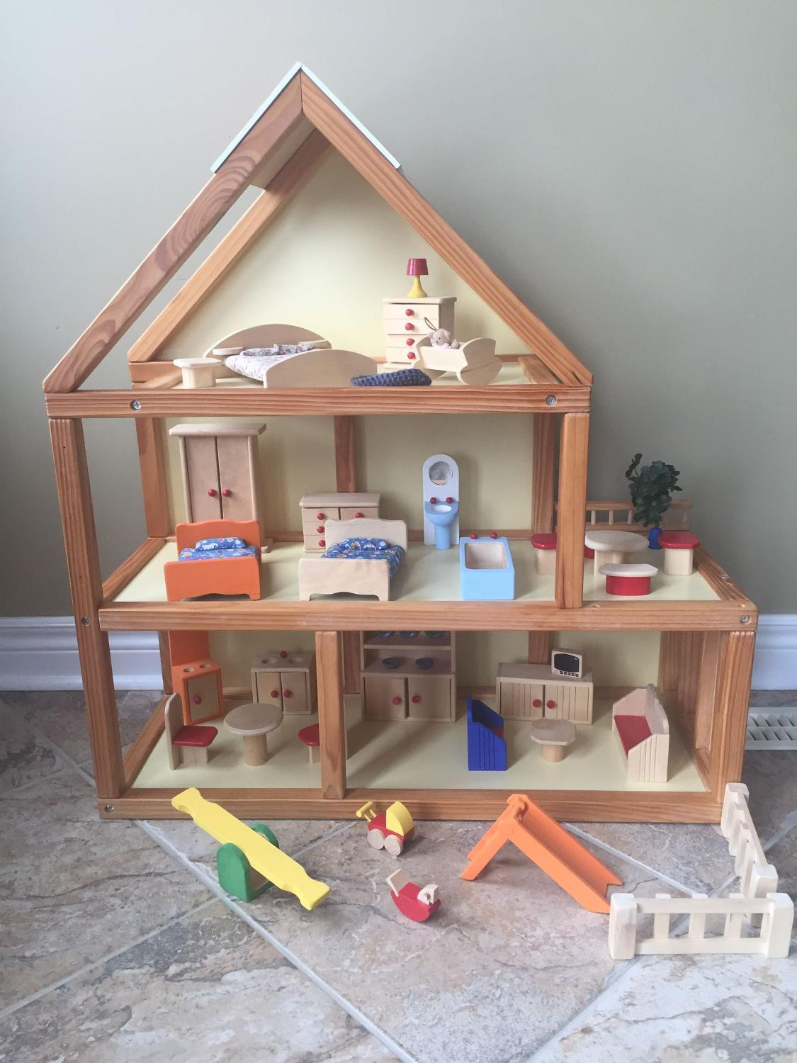 Very Impressive portraiture of Best Wooden Dollhouse With Furniture for sale in Halton Hills Ontario  with #8B7140 color and 1125x1500 pixels