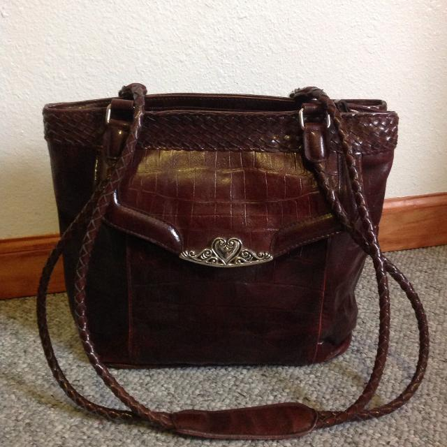 M C Marc Chantal Purse Brown Faux Leather Croc Handbag