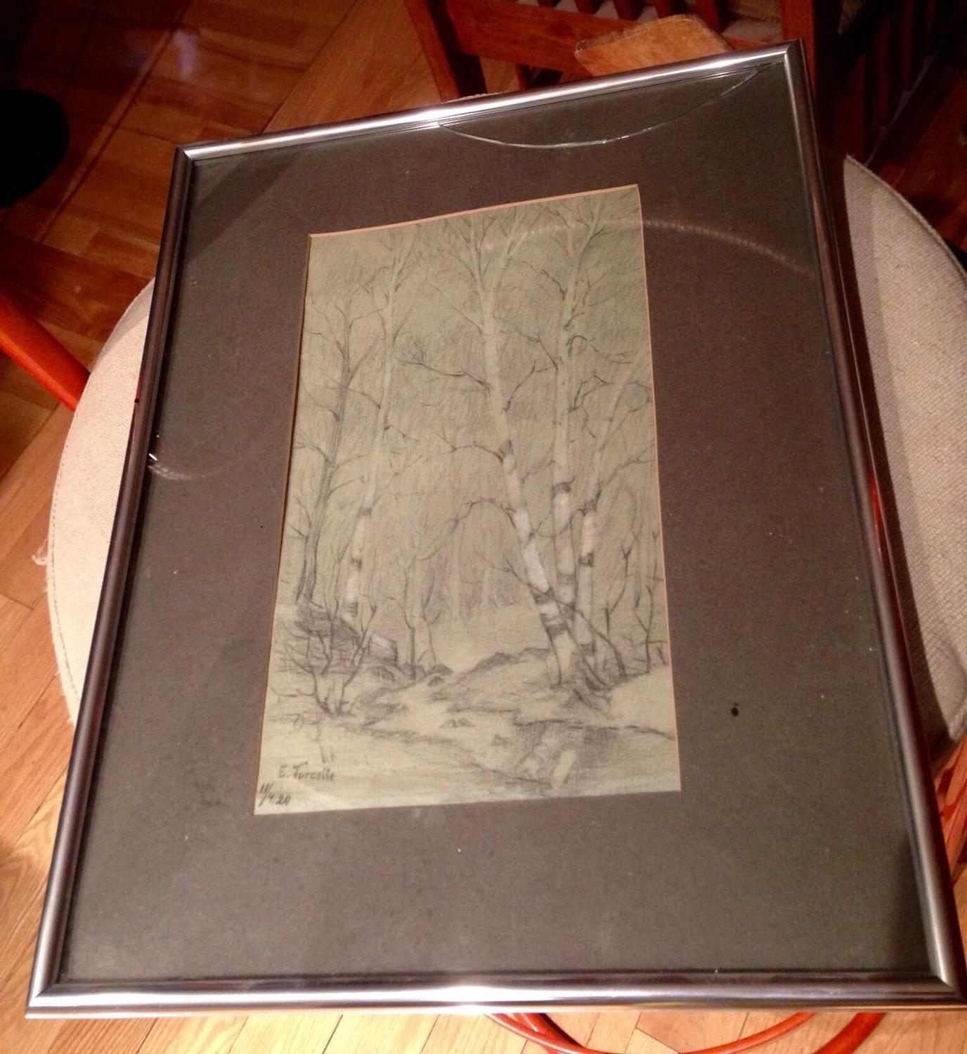 Find more original charcoal drawing painting circa 1920 for Table 09 pointe claire