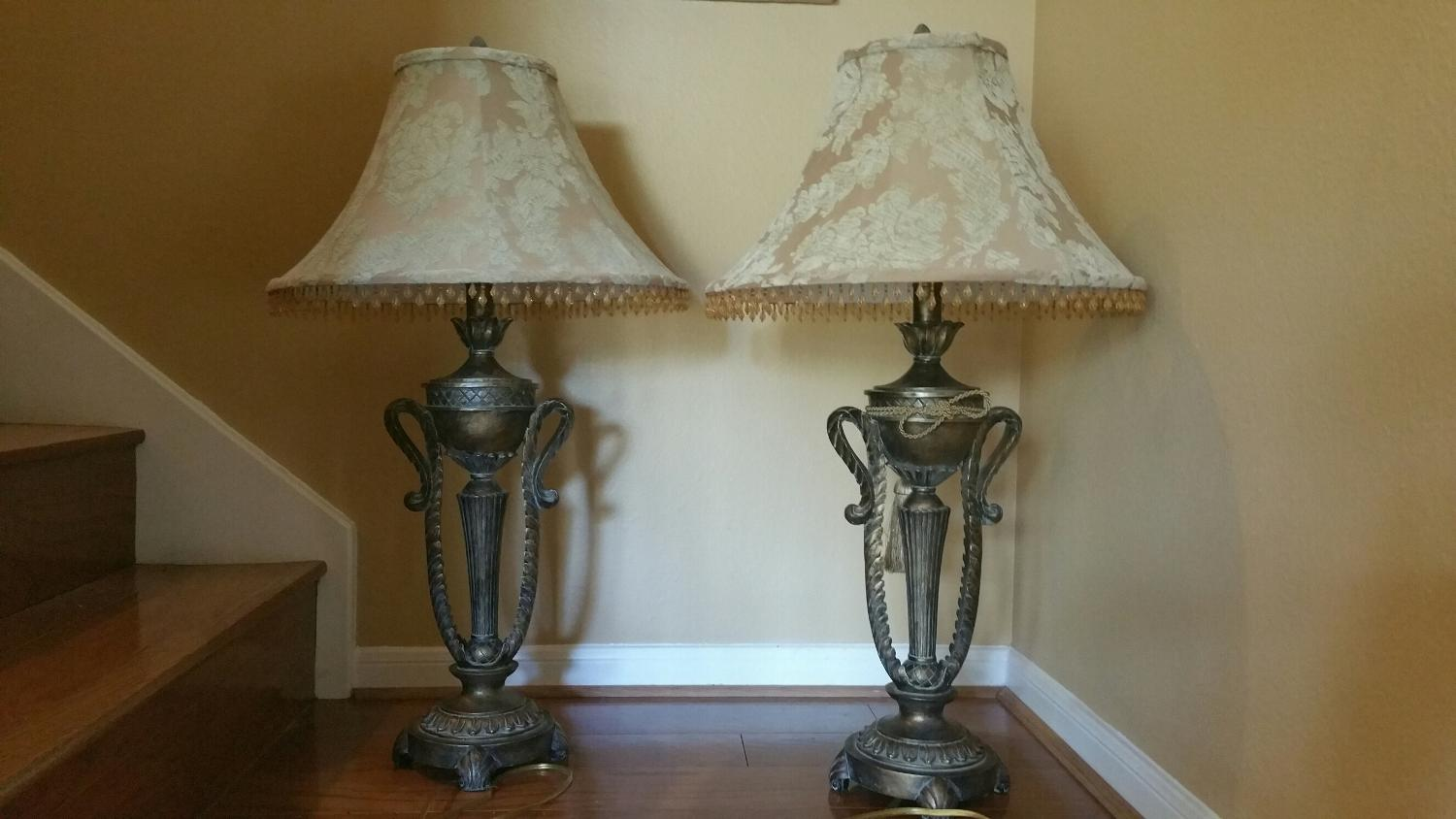 best pair of ornate brass table lamps for sale in houston texas for. Black Bedroom Furniture Sets. Home Design Ideas