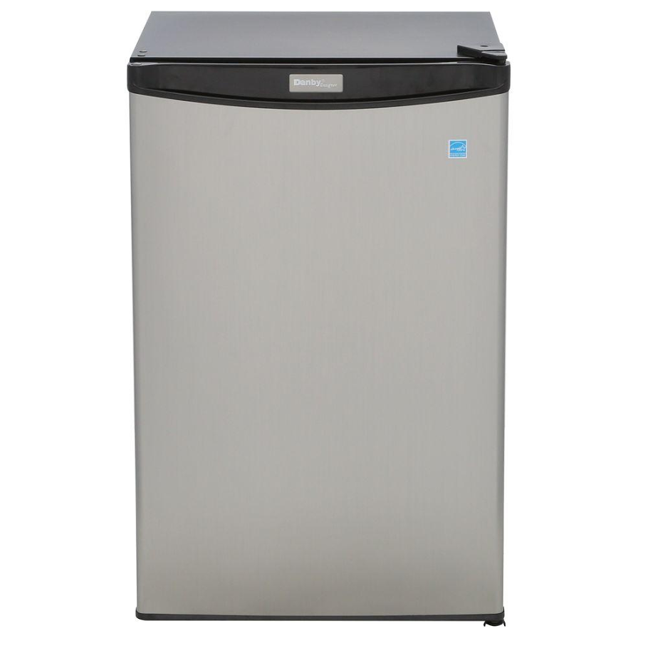 find more danby new in box 4 4 cu ft mini refrigerator in stainless look for sale at up to 90. Black Bedroom Furniture Sets. Home Design Ideas