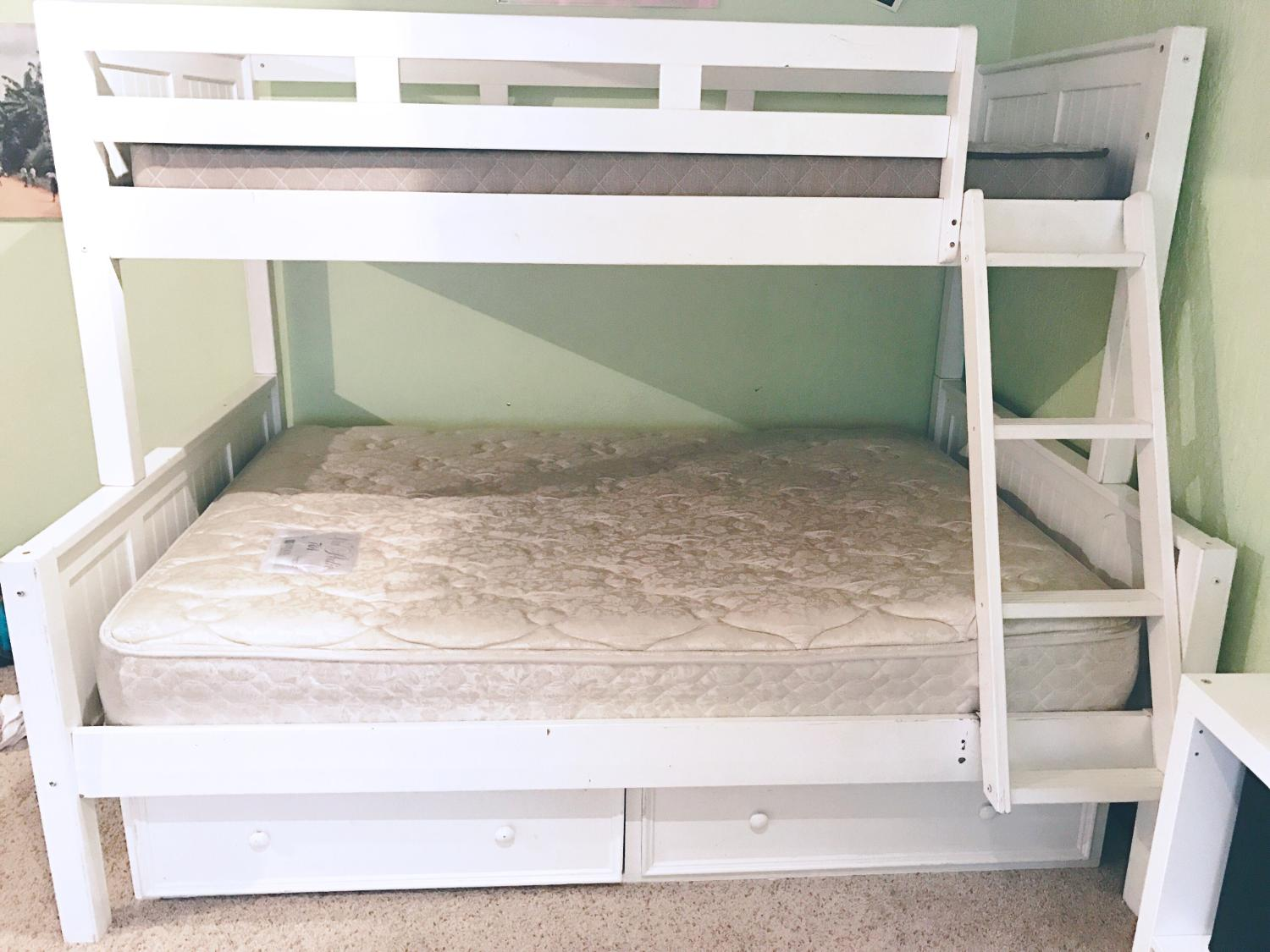 Find more white bunk bed twin over full for sale at up to for Stores that sell beds