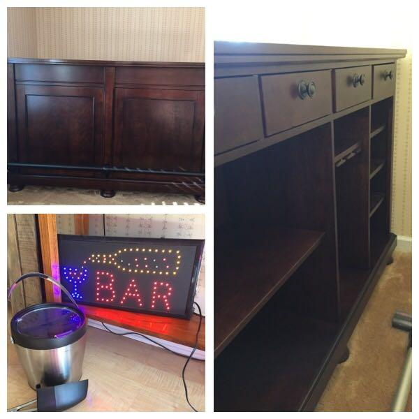 Best Ashley Furniture Cherry Bar Set Bar Sign And Ice Bucket Included Single Owner 4 Years