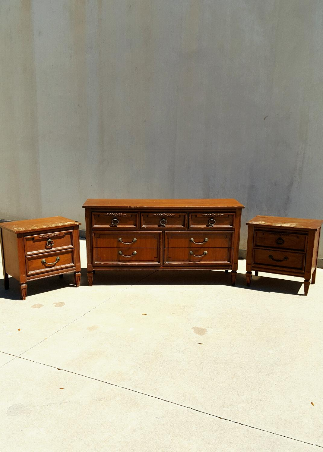 Find More Vintage Mid Century Solid Wood Dresser And Nightstands Bedroom Set For Sale At Up To