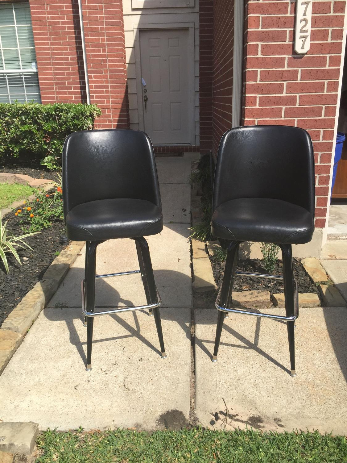 Best leather black bar stool chairs for sale in cypress for Furniture 77429