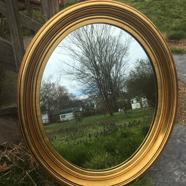 Find more Large Antique Oval Mirror & Frame, Stroupe Mirror Company ...