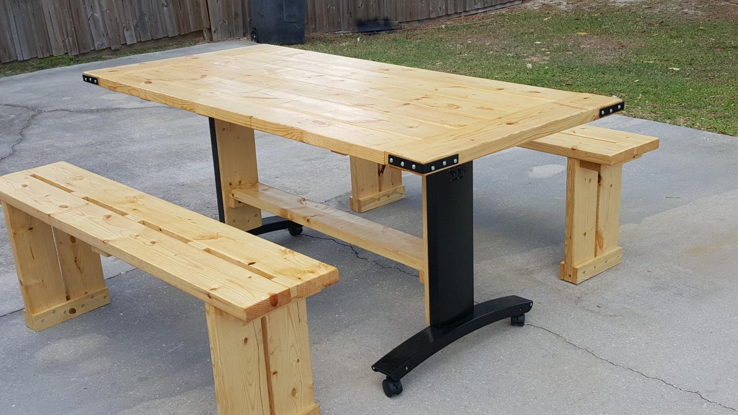 Wonderful image of Best New Custom Table With Two Benches for sale in Brandon Florida  with #937638 color and 1500x844 pixels