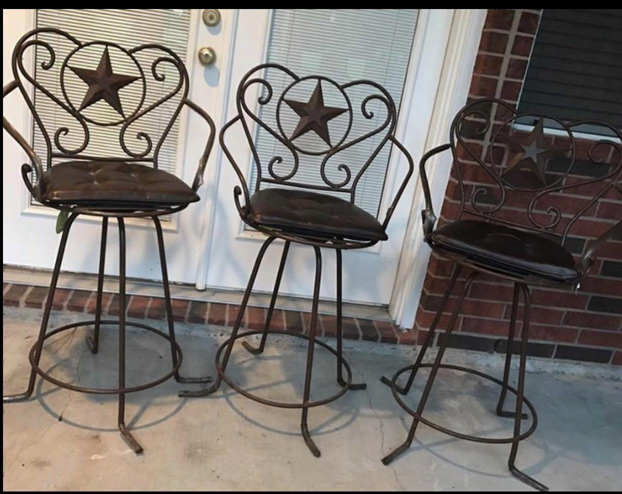 Find more 3 gorgeous heavy rod iron texas western rustic bar stools must sell today for sale at - Rustic bar stools cheap ...