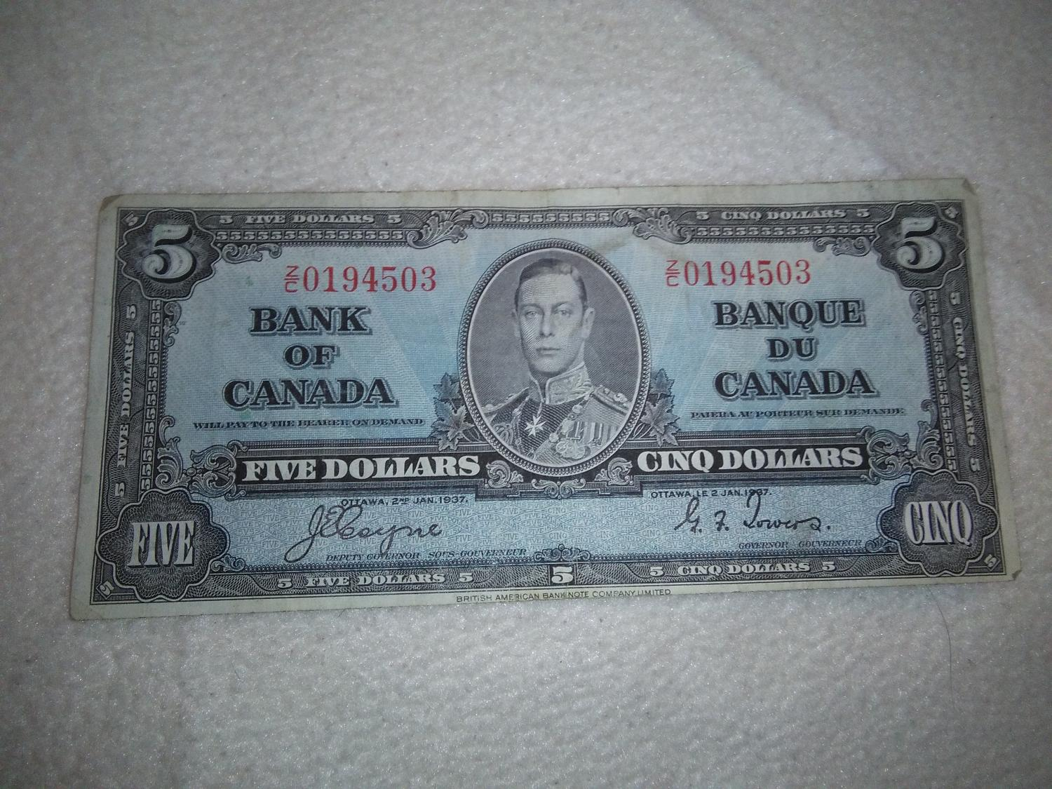 Best 1937 5 Dollar Bill for sale in Markham, Ontario for 2017