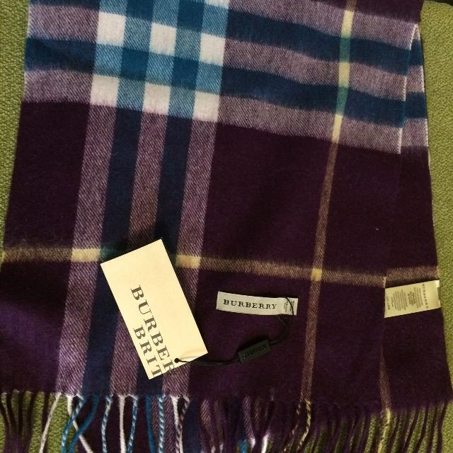 462715ac7605 Best Authentic Burberry 100% Cashmere Scarf - Purple for sale in Yorkville
