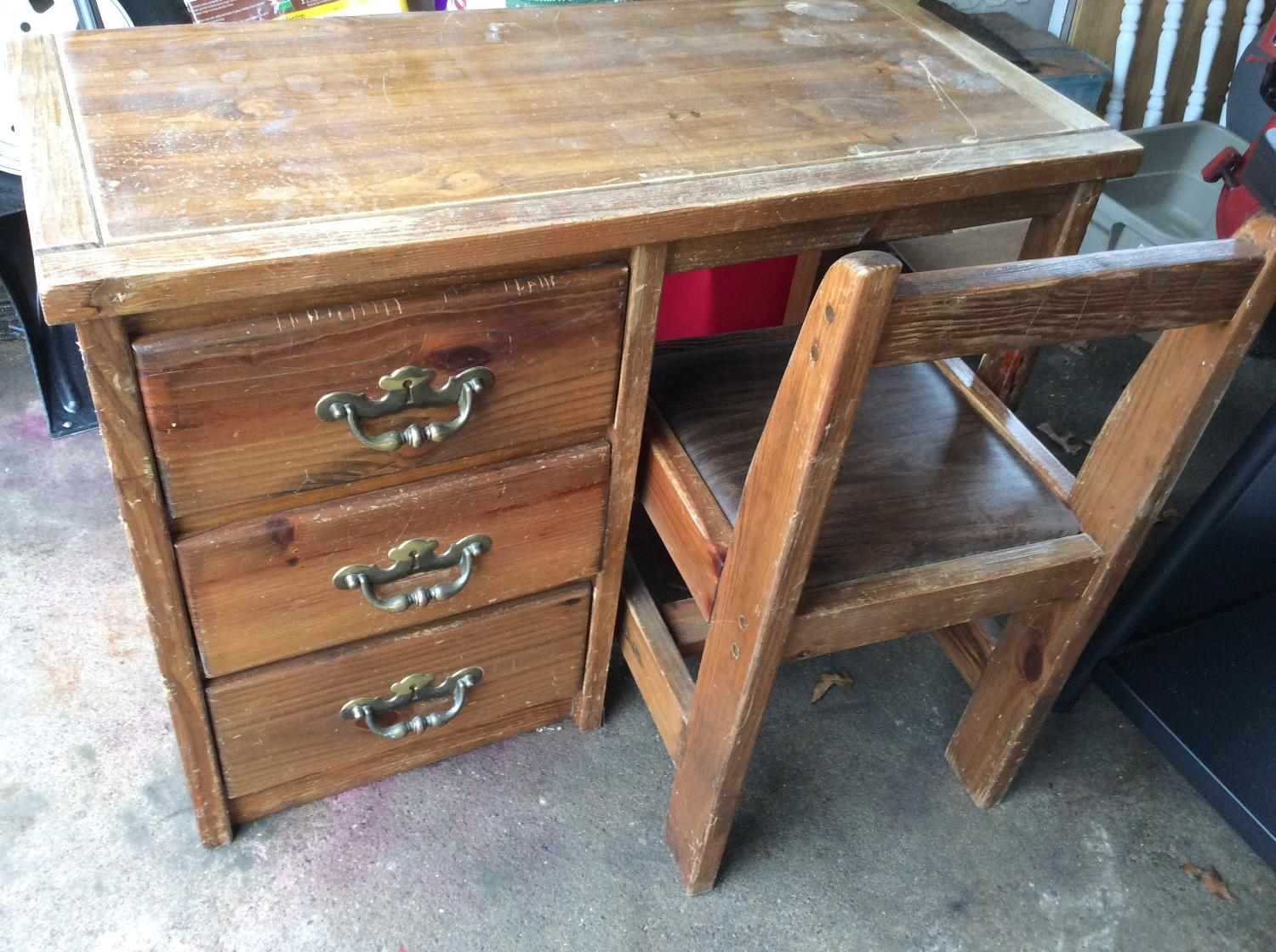 Find More Heavy Well Made Student Desk And Chair Needs Refurbishing For Sale At Up To 90 Off