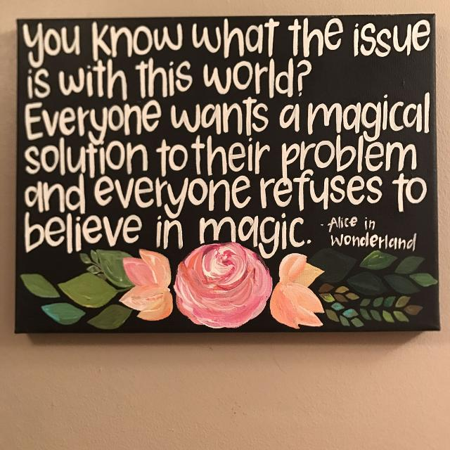 Alice in Wonderland Quote Canvas painting *price drop