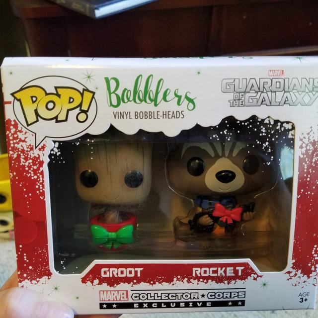 Christmas Groot Funko Pop.Funko Pop Bobble Heads Guardians Of The Galaxy Groot And Rocket Raccoon Christmas